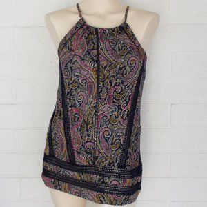 New Lucky Brand Small black paisley halter top